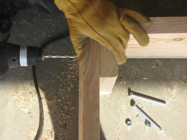 Building a garden Cold Frame - Attach Bolts