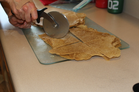 making your own homemade tortilla chips cut